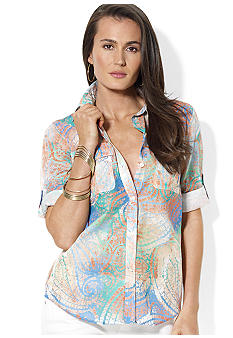 Lauren Jeans Co. Roll-Sleeve Paisley Workshirt