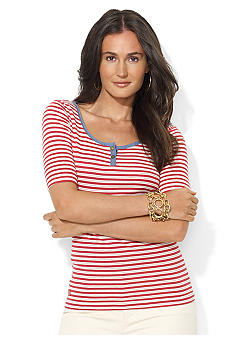 Lauren Jeans Co. Ribbed Cotton Striped ScoopneckTop