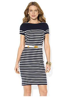 Lauren Jeans Co. Belted Lace-Up Boatneck Dress