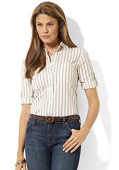 Lauren Jeans Co. Cotton Roll-Sleeve Shirt