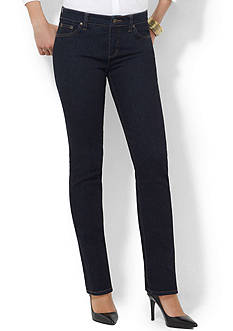 Lauren Jeans Co. Curvy Super Stretch Straight-Leg Stretch Jean