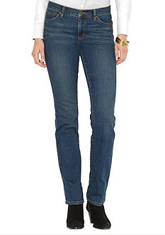 Lauren Jeans Co. Super-Stretch Classic Straight Harbor-Wash Jean