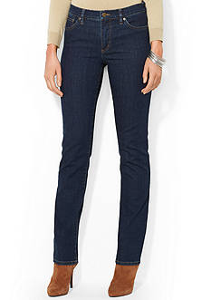 Lauren Jeans Co. Super-Stretch Classic Straight Rinse-Wash Jean