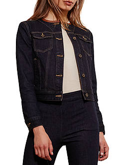 Lauren Jeans Co. Leather-Trim Denim Jacket