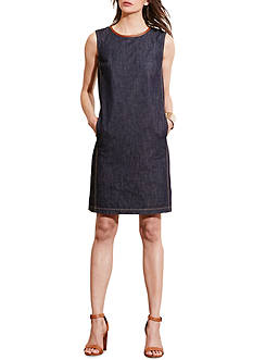 Lauren Jeans Co. Leather-Trim Denim Dress