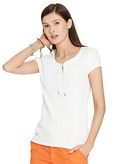 Lauren Jeans Co. Lace-Up Ribbed Cotton Tee
