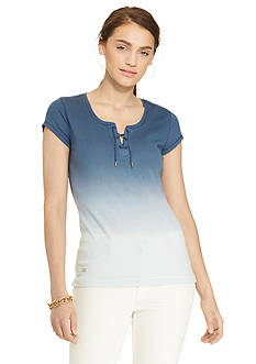 Lauren Jeans Co. Ombr Lace-Up Tee