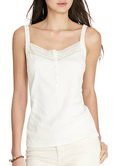 Lauren Jeans Co. Lace-Trimmed Cotton Tank