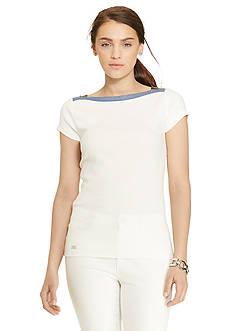 Lauren Jeans Co. Zip-Shoulder Cotton Tee