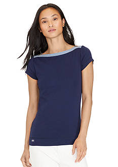 Lauren Jeans Co. Zip-Shoulder Cotton Tee