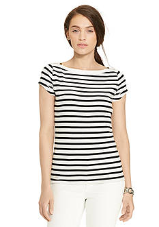 Lauren Jeans Co. Zip-Shoulder Striped Tee