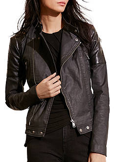Lauren Jeans Co. Coated Moto Jacket