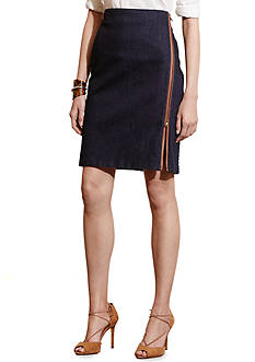 Lauren Jeans Co. Zip-Front Stretch Cotton Skirt