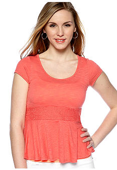 Red Camel Short-Sleeve Crochet Inset Peplum Top
