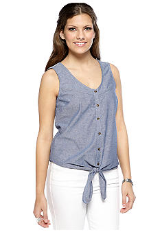 Red Camel Lace Back Tie Front Sleeveless Chambray Top