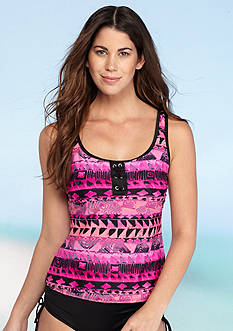 Kim Rogers Sand Geo Lace Up Sport Tankini Swim Top