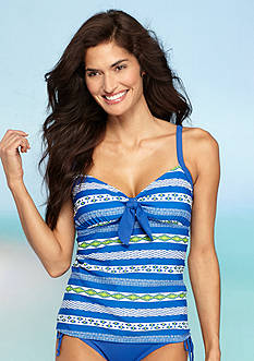 Kim Rogers Villa Stripe Over The Shoulder Tankini
