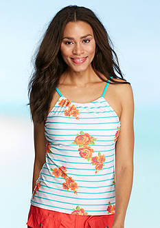 Kim Rogers Garden Stripe High-Neck Tankini