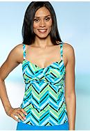 Kim Rogers® Sailing Stripe Adjustable Twist Tankini Top