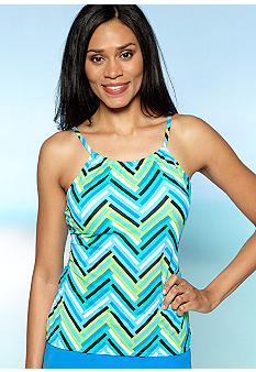 Kim Rogers Sailing Stripe Hi Neck Tankini Top