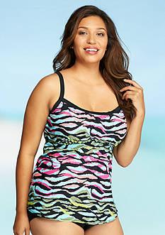 Kim Rogers Plus Size Wild Stripe Peasant Tankini