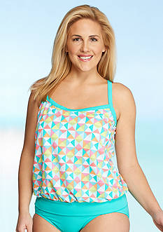 Kim Rogers Plus Size Tropical Multi Blouson Tankini
