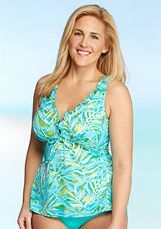 Kim Rogers Plus Size Watercolor Palm Ruffle Peasant Tankini
