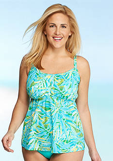 Kim Rogers Plus Size Watercolor Palm Peasant Tankini