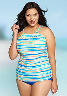 Kim Rogers Plus Size Sunrise Stripe High Neckline Tankini