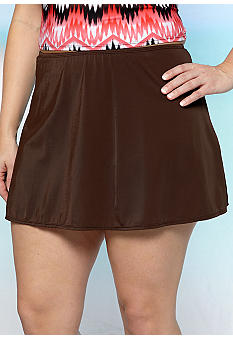 Kim Rogers Plus Size Solid Skirted Swim Bottom
