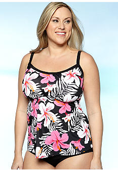 Kim Rogers Plus Size Tropical Printed Tankini