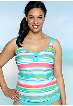 Kim Rogers Summer Sunrise Mock Button Tankini