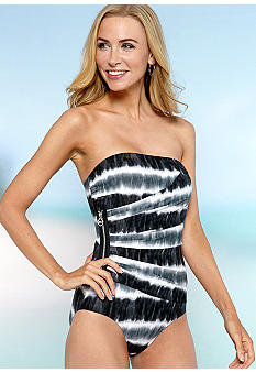 MICHAEL Michael Kors Tribal Shirred Bandeau One Piece Swim Suit