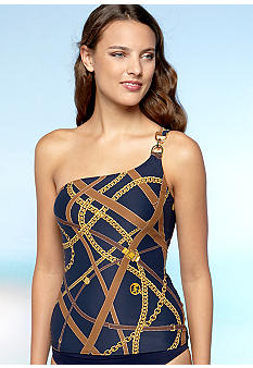 MICHAEL Michael Kors Harness Status One Shoulder Tankini