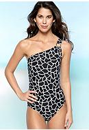 MICHAEL Michael Kors Mod Giraffe Print One Shoulder One Piece Swim Suit