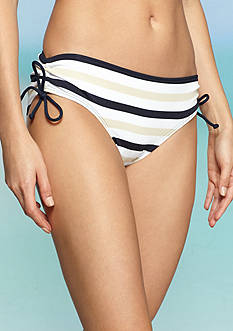 MICHAEL Michael Kors Essentials Stripe Shirred Hipster Swim Top