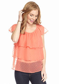 New Directions Swiss Dot Tiered Ruffle Blouse