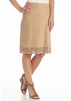 New Directions Faux Suede Perforated Hem Skirt