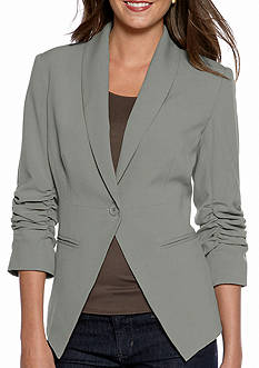 New Directions Ruched Sleeve Single Button Blazer