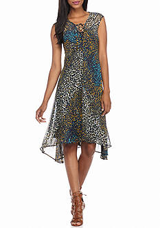 New Directions Animal Printed Lace Up Dress