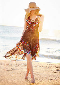 New Directions Feather Printed Lace Up Dress