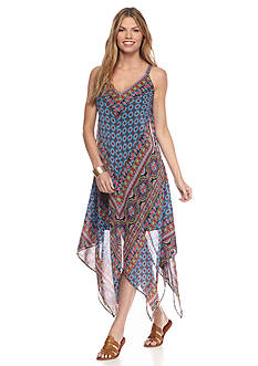 New Directions Mitered Paisley Hanky Hem Dress