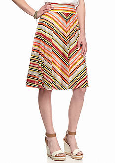 New Directions Multi Mitered Stripe Midi Skirt