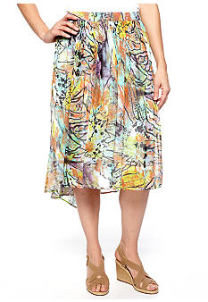 New Directions Printed Chiffon Skirt