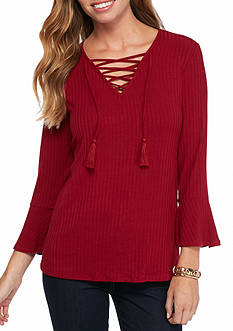 New Directions Ribbed Lace Up Top