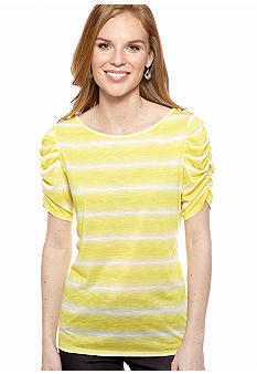 New Directions Tie Dye Button Shoulder Top