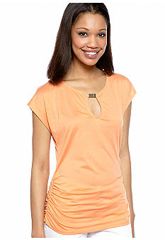 New Directions Shirred Side Tee with Keyhole Neckline