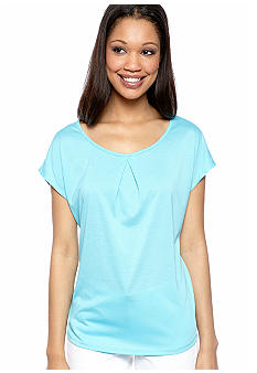 New Directions Solid High Low Tee with Front Pleat