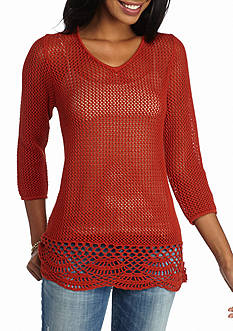 New Directions Open Weave Pointelle Sweater