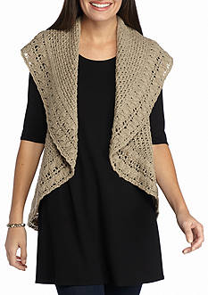 New Directions Heathered Yarn Circular Vest